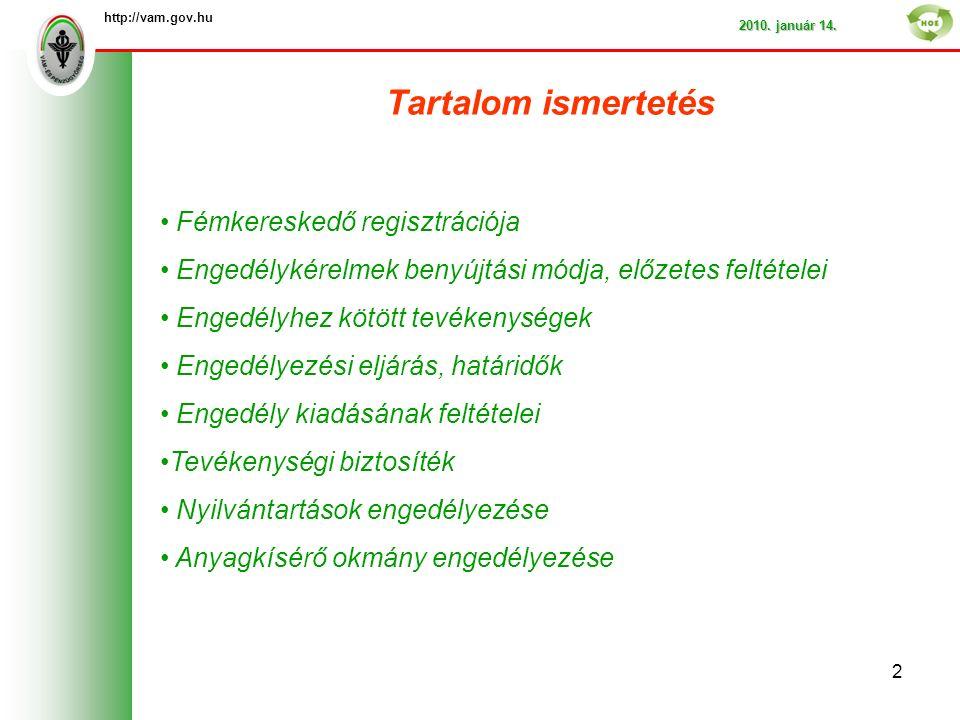 Tartalom ismertetés http://vam.gov.hu 2010. január 14.