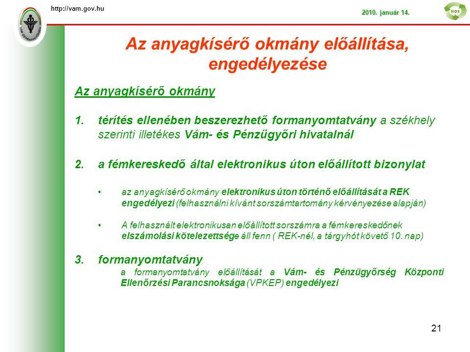 Az anyagkísérő okmány előállítása, engedélyezése http://vam.gov.hu 2010.