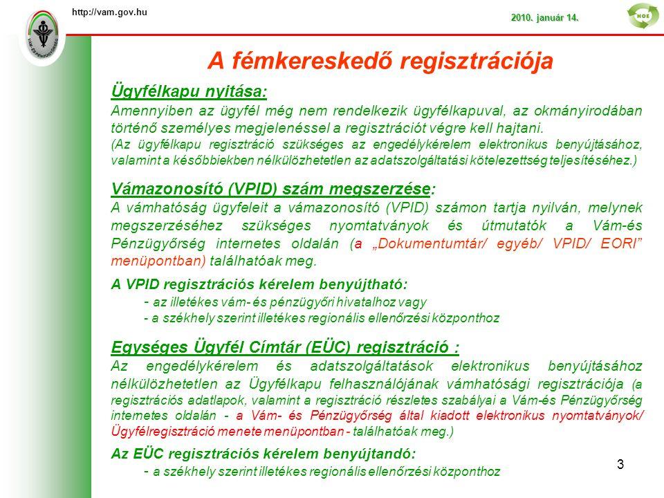 A fémkereskedő regisztrációja http://vam.gov.hu 2010.