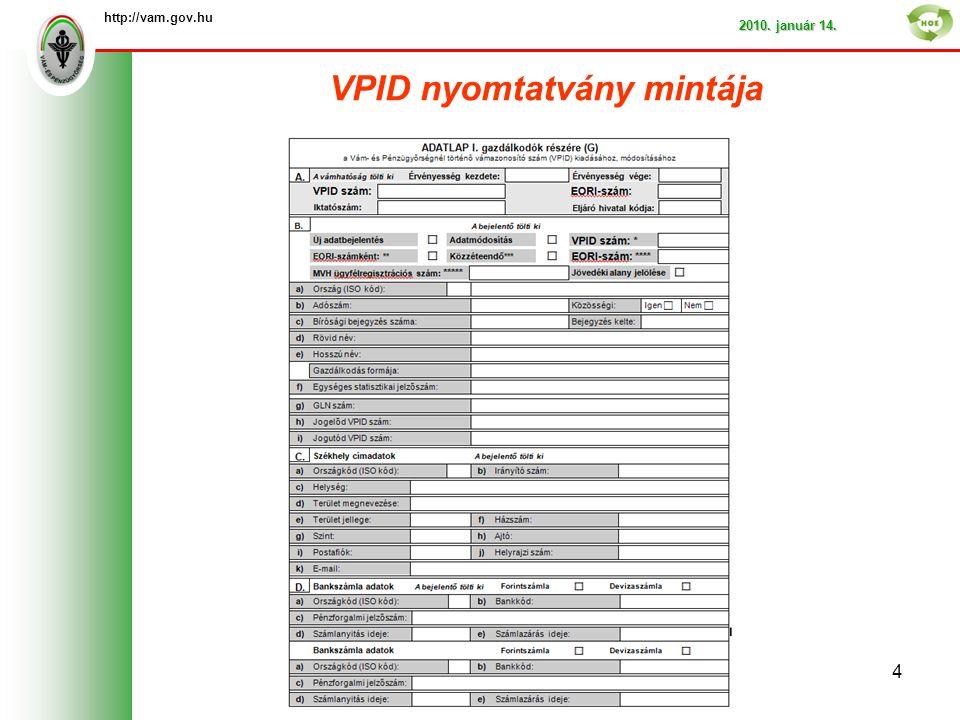 VPID nyomtatvány mintája http://vam.gov.hu 2010. január 14. 4