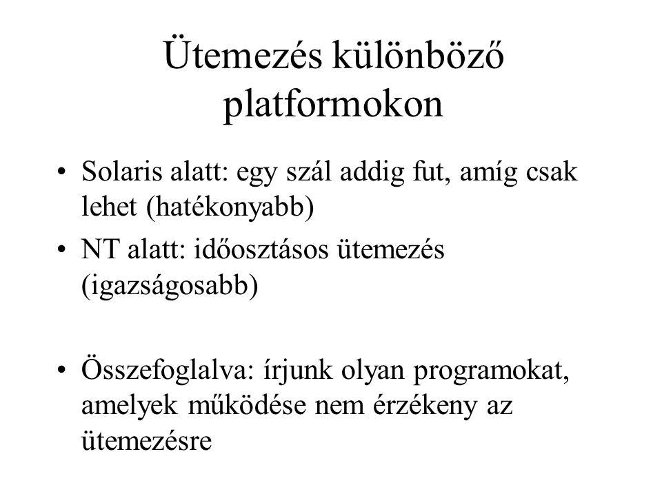 Ütemezés különböző platformokon Solaris alatt: egy szál addig fut, amíg csak lehet (hatékonyabb) NT alatt: időosztásos ütemezés (igazságosabb) Össze