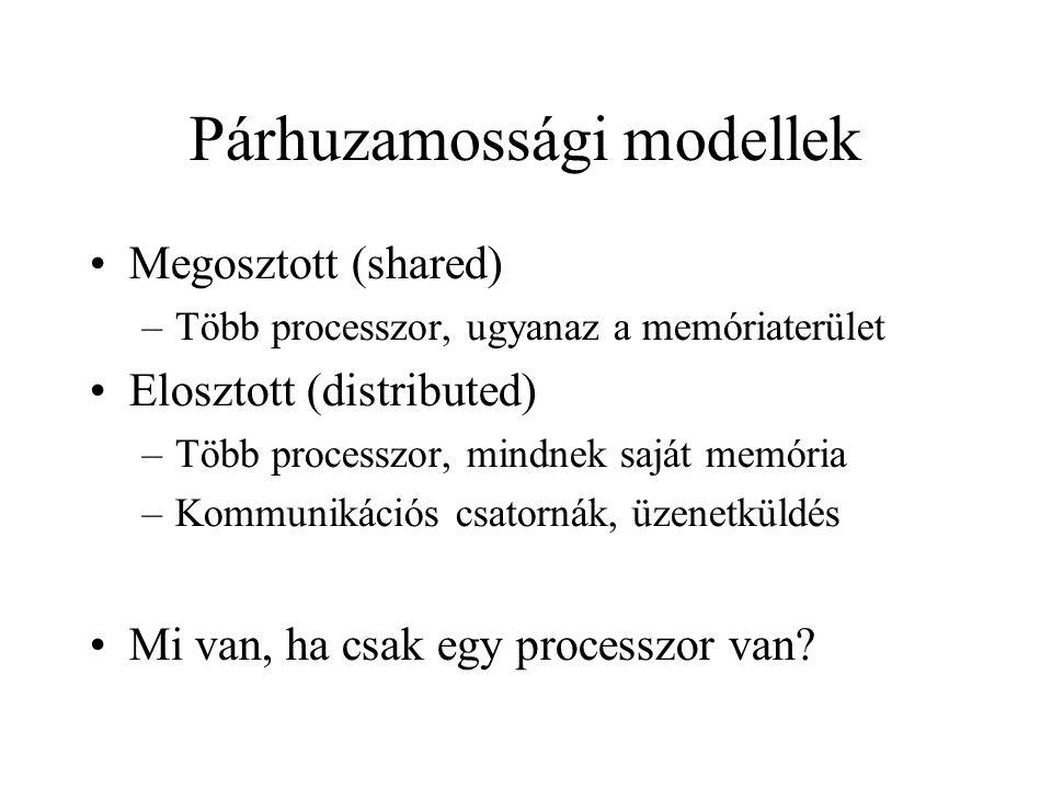 Párhuzamossági modellek Megosztott (shared) –Több processzor, ugyanaz a memóriaterület Elosztott (distributed) –Több processzor, mindnek saját memór