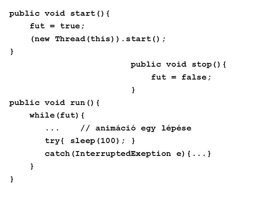 public void start(){ fut = true; (new Thread(this)).start(); } public void stop(){ fut = false; } public void run(){ while(fut){... // animáció egy lé
