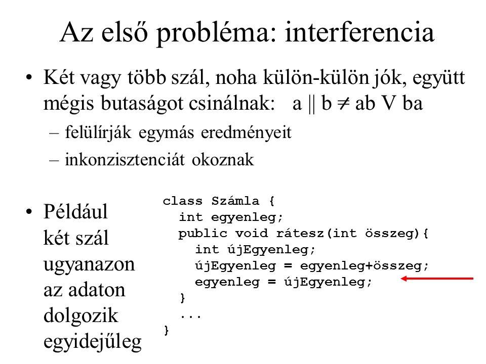 Az első probléma: interferencia Két vagy több szál, noha külön-külön jók, együtt mégis butaságot csinálnak: a || b = ab V ba –felülírják egymás eredmé