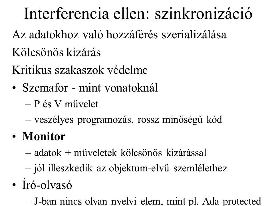 Interferencia ellen: szinkronizáció Az adatokhoz való hozzáférés szerializálása Kölcsönös kizárás Kritikus szakaszok védelme Szemafor - mint vonatokná