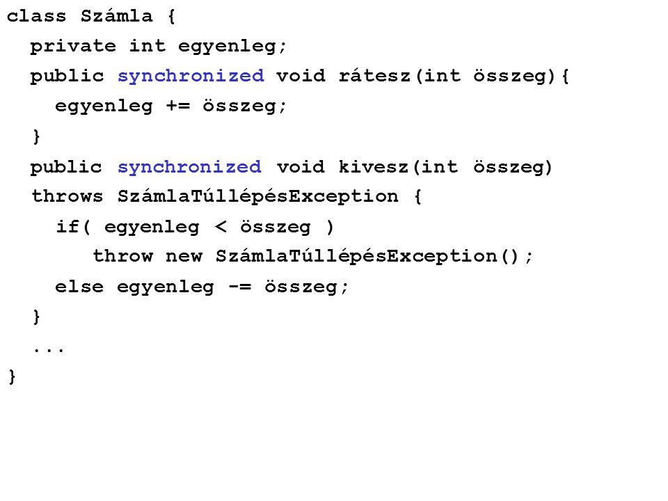 class Számla { private int egyenleg; public synchronized void rátesz(int összeg){ egyenleg += összeg; } public synchronized void kivesz(int összeg) t