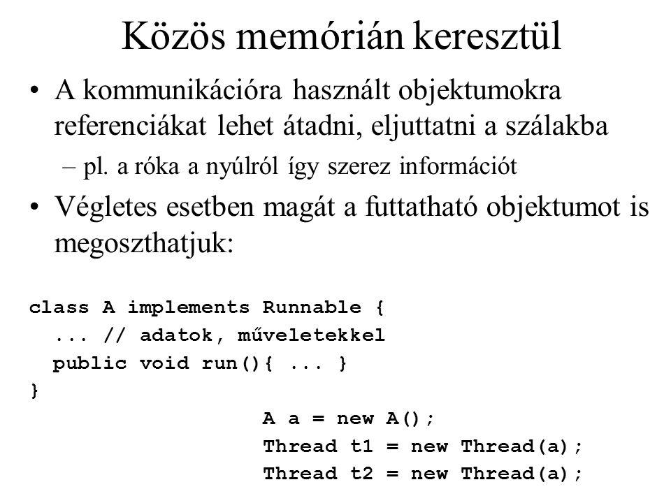 Közös memórián keresztül A kommunikációra használt objektumokra referenciákat lehet átadni, eljuttatni a szálakba –pl. a róka a nyúlról így szerez inf