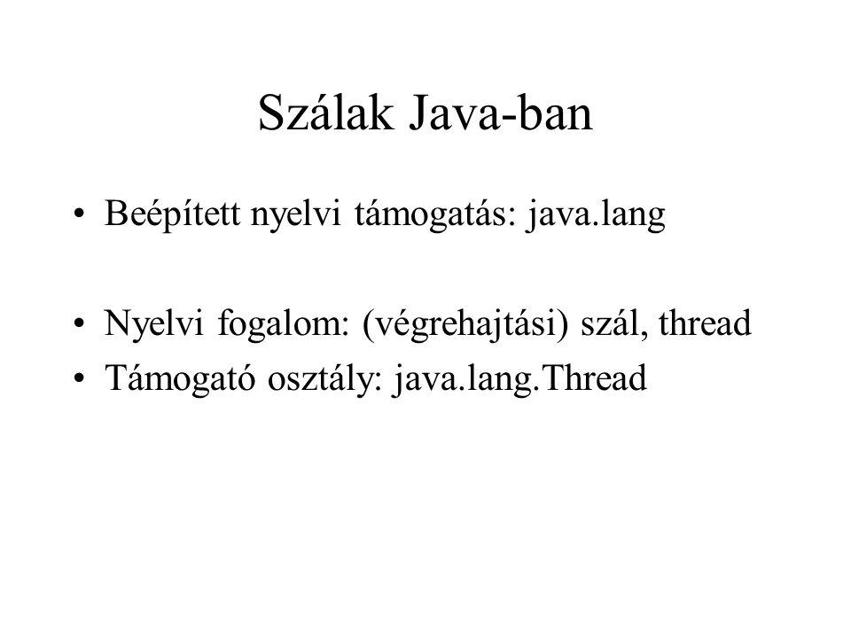 Szálak Java-ban Beépített nyelvi támogatás: java.lang Nyelvi fogalom: (végrehajtási) szál, thread Támogató osztály: java.lang.Thread
