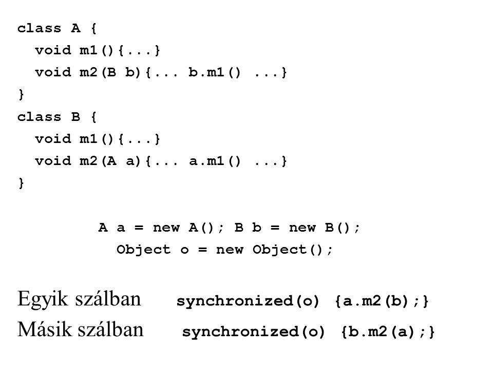 class A { void m1(){...} void m2(B b){... b.m1()...} } class B { void m1(){...} void m2(A a){... a.m1()...} } A a = new A(); B b = new B(); Object o =