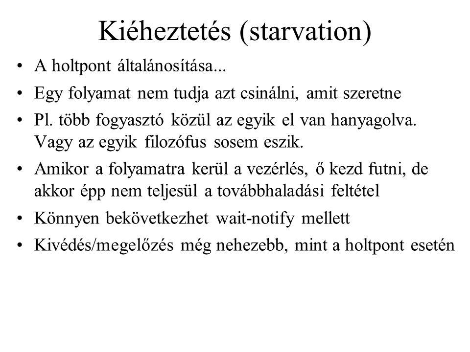 Kiéheztetés (starvation) A holtpont általánosítása... Egy folyamat nem tudja azt csinálni, amit szeretne Pl. több fogyasztó közül az egyik el van han