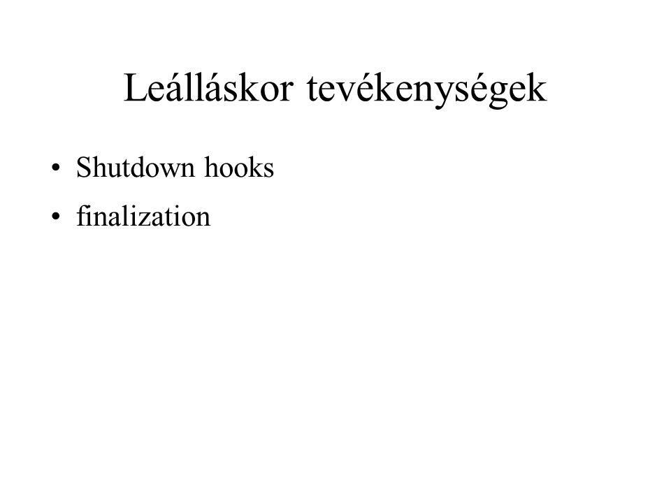 Leálláskor tevékenységek Shutdown hooks finalization