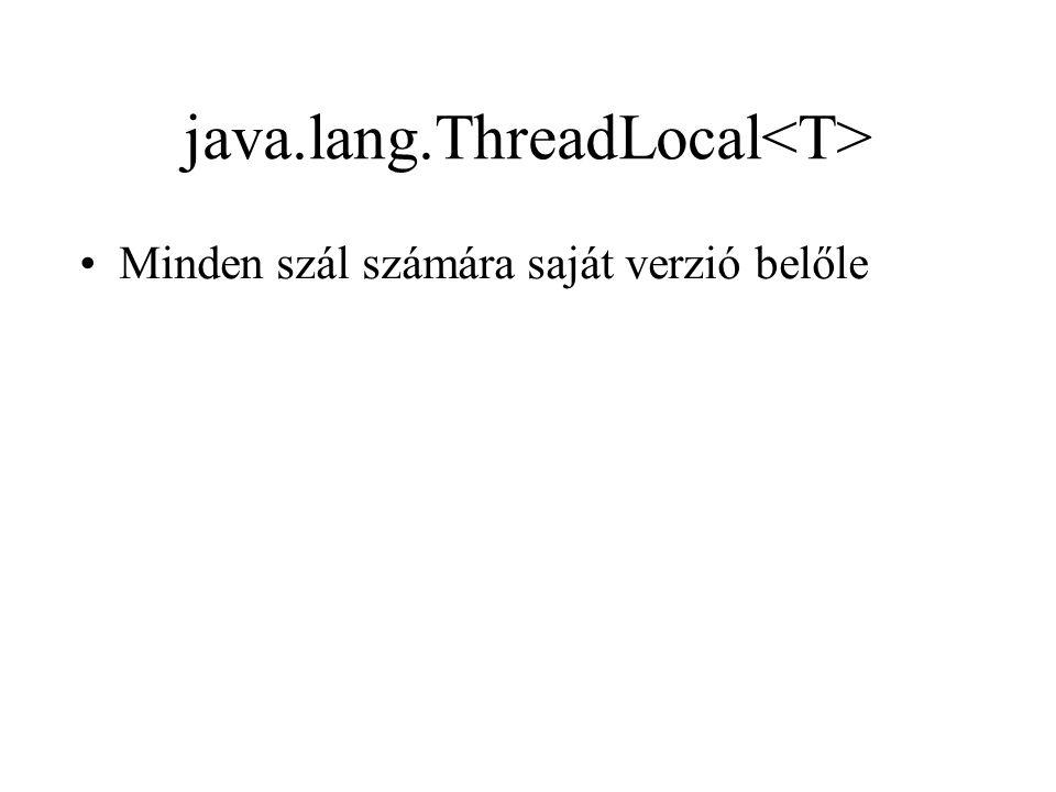 java.lang.ThreadLocal Minden szál számára saját verzió belőle