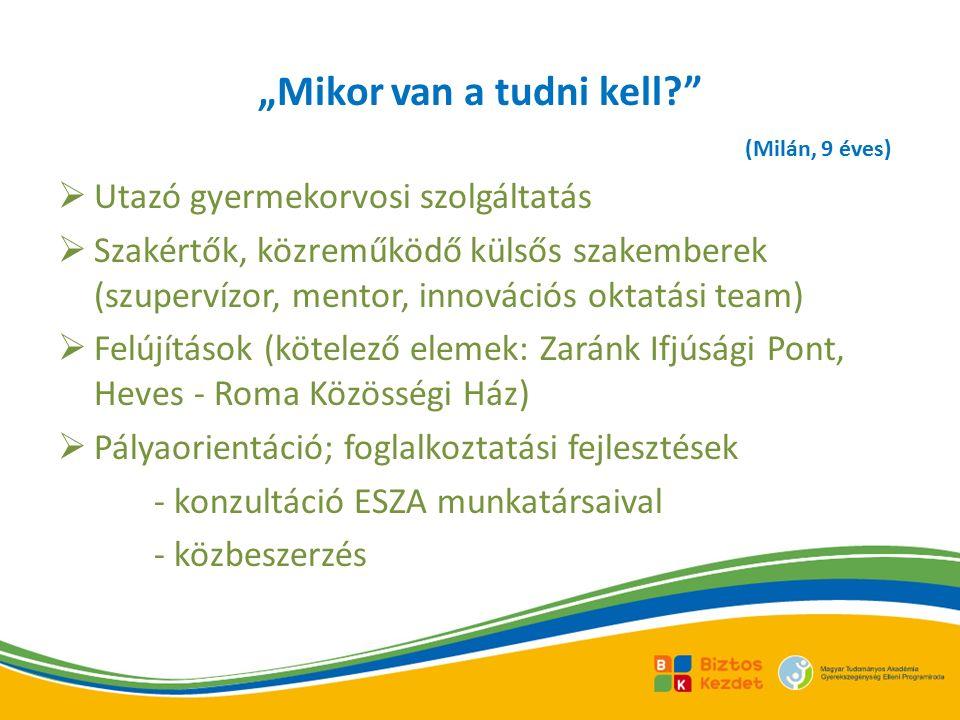""" Utazó gyermekorvosi szolgáltatás  Szakértők, közreműködő külsős szakemberek (szupervízor, mentor, innovációs oktatási team)  Felújítások (kötelező elemek: Zaránk Ifjúsági Pont, Heves - Roma Közösségi Ház)  Pályaorientáció; foglalkoztatási fejlesztések - konzultáció ESZA munkatársaival - közbeszerzés """"Mikor van a tudni kell? (Milán, 9 éves)"""