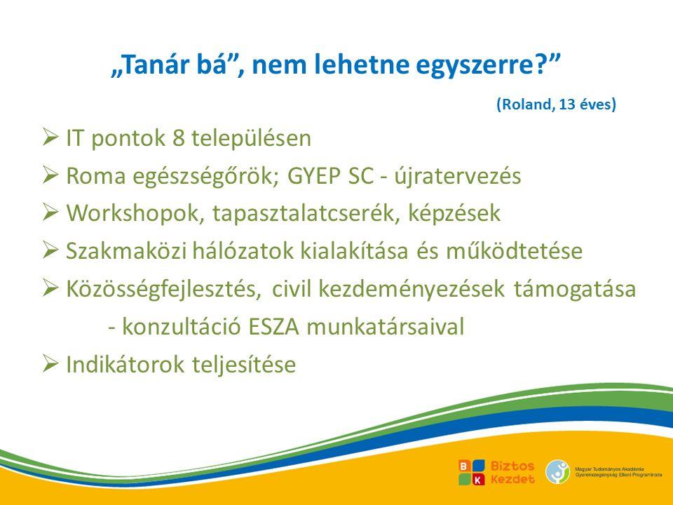 """ IT pontok 8 településen  Roma egészségőrök; GYEP SC - újratervezés  Workshopok, tapasztalatcserék, képzések  Szakmaközi hálózatok kialakítása és működtetése  Közösségfejlesztés, civil kezdeményezések támogatása - konzultáció ESZA munkatársaival  Indikátorok teljesítése """"Tanár bá , nem lehetne egyszerre? (Roland, 13 éves)"""