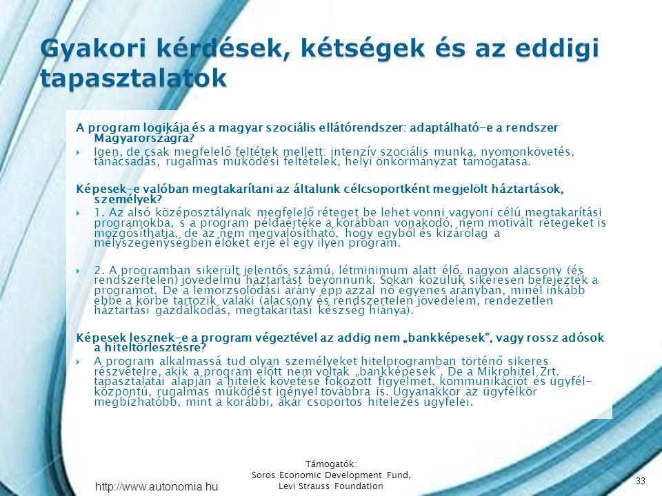 http://www.autonomia.hu A program logikája és a magyar szociális ellátórendszer: adaptálható-e a rendszer Magyarországra.