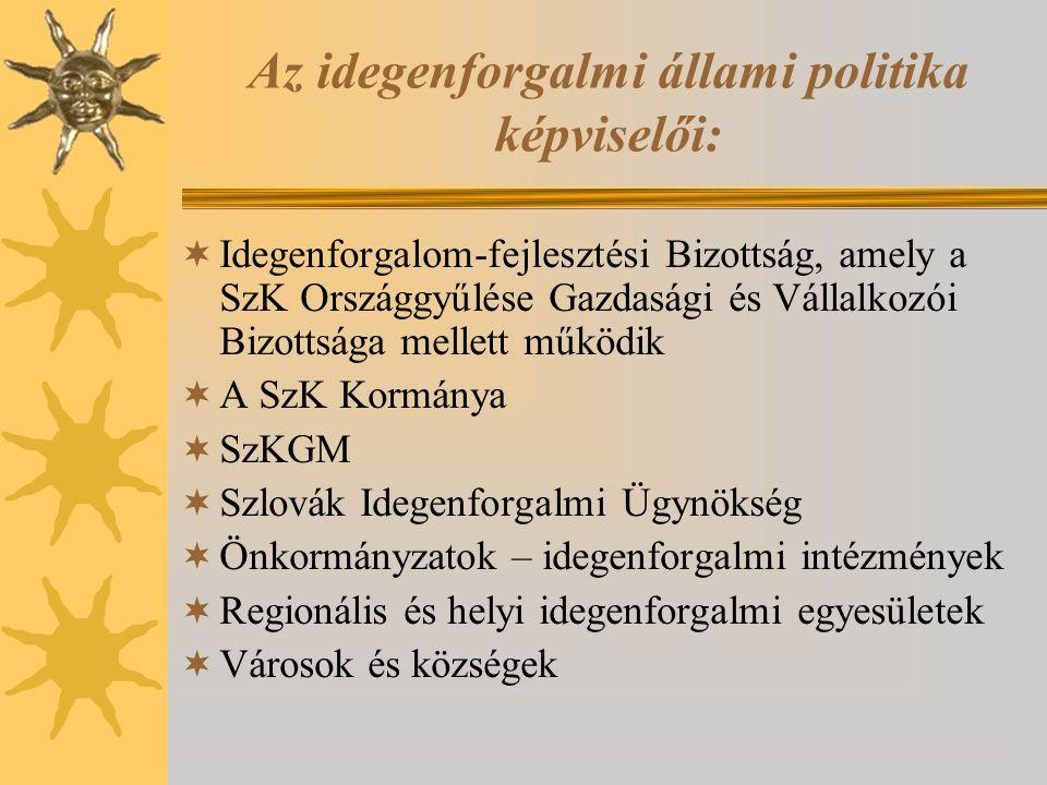 Az idegenforgalmi állami politika képviselői:  Idegenforgalom-fejlesztési Bizottság, amely a SzK Országgyűlése Gazdasági és Vállalkozói Bizottsága me