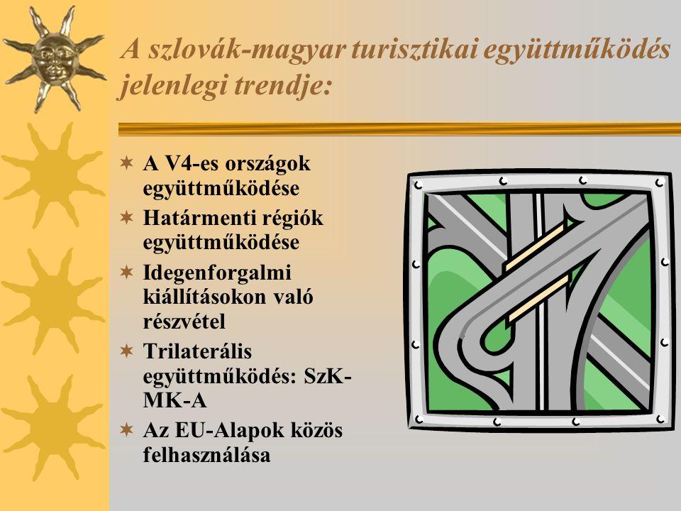 A szlovák-magyar turisztikai együttműködés jelenlegi trendje:  A V4-es országok együttműködése  Határmenti régiók együttműködése  Idegenforgalmi ki