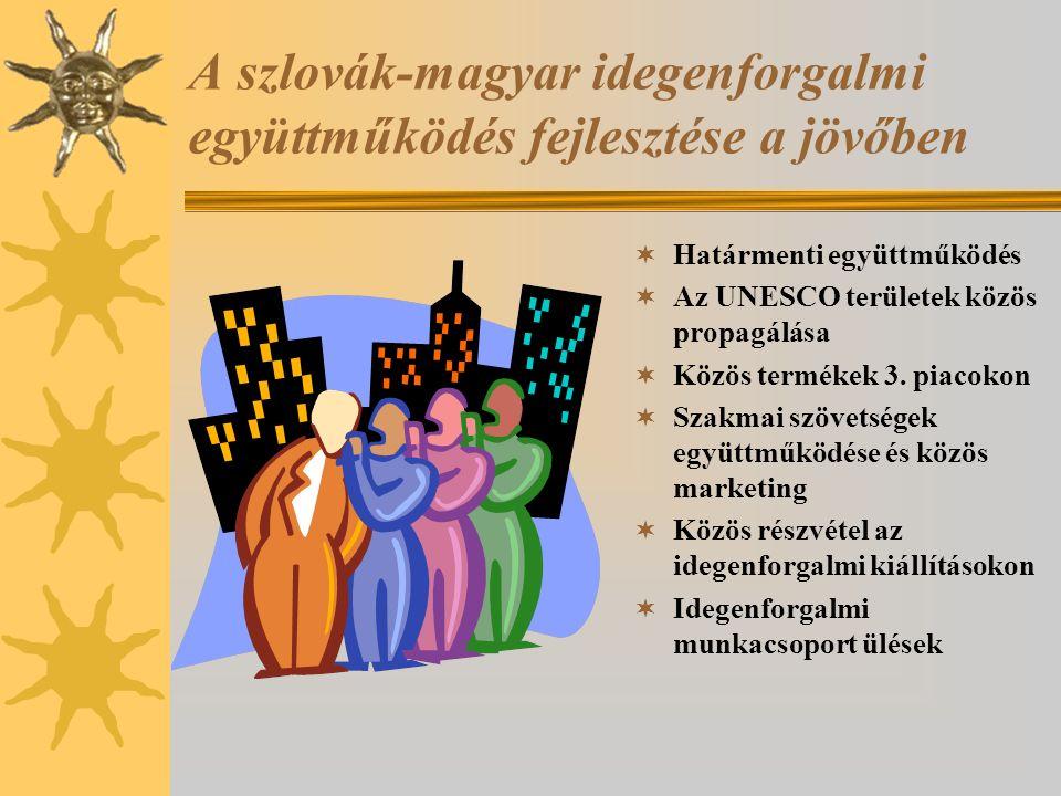 A szlovák-magyar idegenforgalmi együttműködés fejlesztése a jövőben  Határmenti együttműködés  Az UNESCO területek közös propagálása  Közös terméke