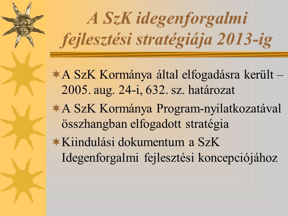 A SzK idegenforgalmi fejlesztési stratégiája 2013-ig  A SzK Kormánya által elfogadásra került – 2005. aug. 24-i, 632. sz. határozat  A SzK Kormánya