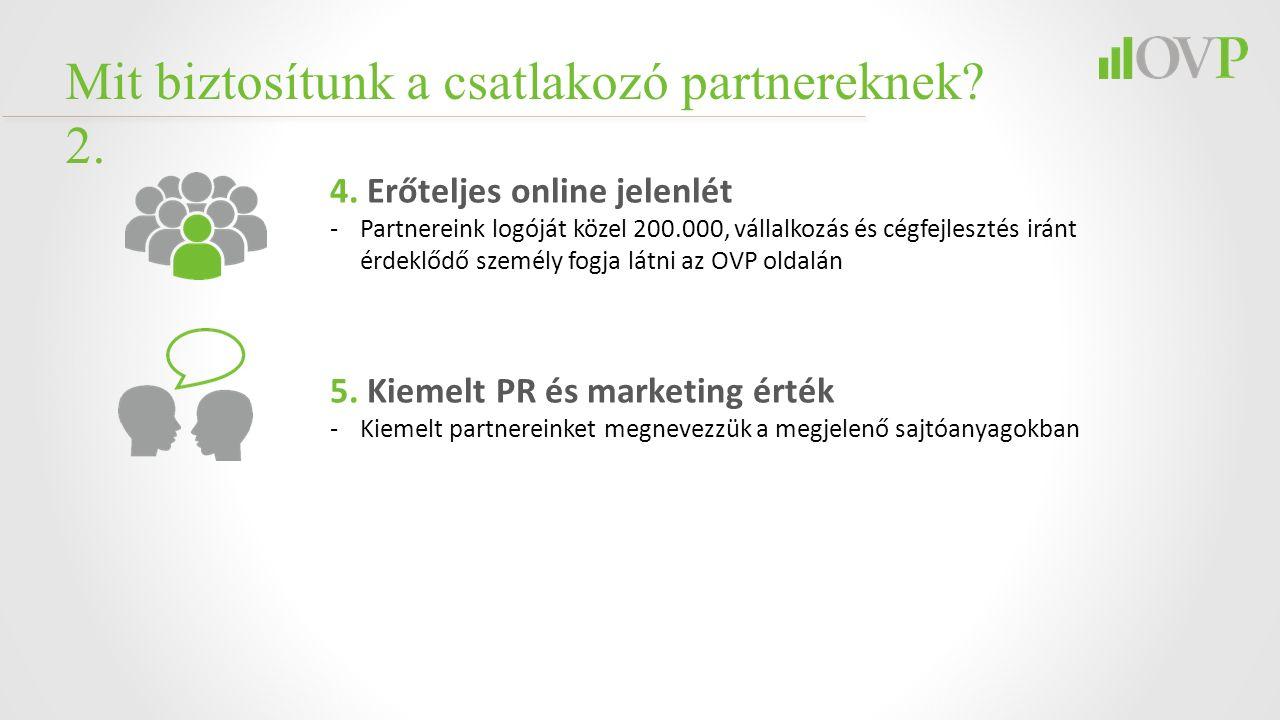 4. Erőteljes online jelenlét -Partnereink logóját közel 200.000, vállalkozás és cégfejlesztés iránt érdeklődő személy fogja látni az OVP oldalán 5. Ki