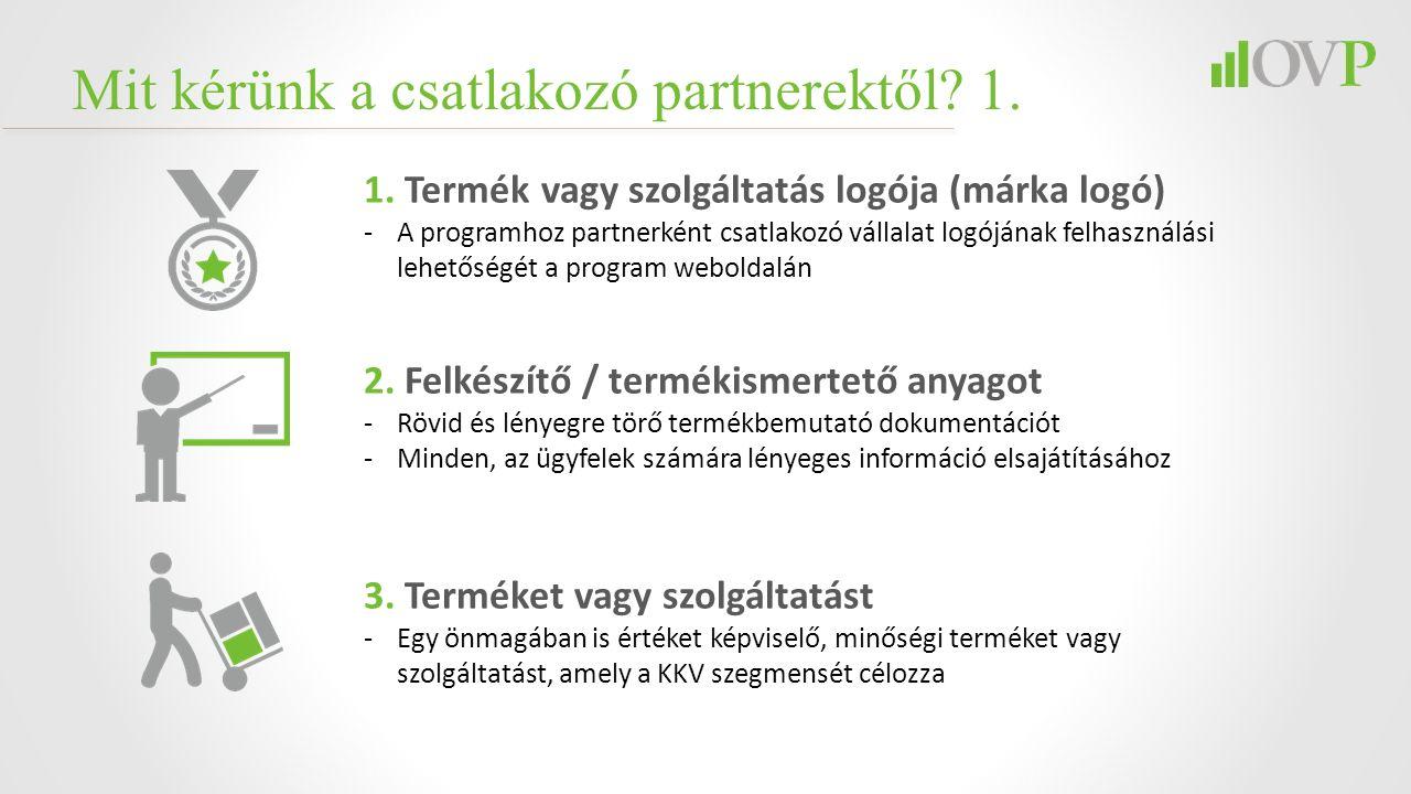 Mit kérünk a csatlakozó partnerektől? 1. 1. Termék vagy szolgáltatás logója (márka logó) -A programhoz partnerként csatlakozó vállalat logójának felha