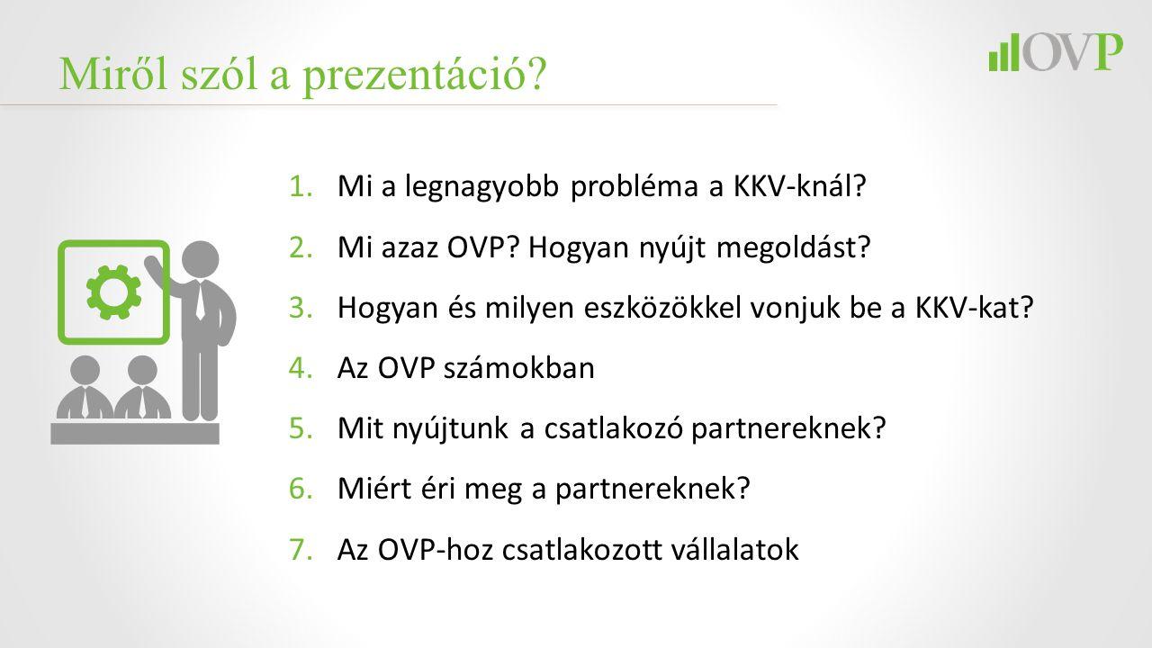 Miről szól a prezentáció? 1.Mi a legnagyobb probléma a KKV-knál? 2.Mi azaz OVP? Hogyan nyújt megoldást? 3.Hogyan és milyen eszközökkel vonjuk be a KKV