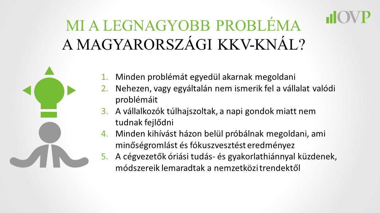 MI A LEGNAGYOBB PROBLÉMA A MAGYARORSZÁGI KKV-KNÁL? 1.Minden problémát egyedül akarnak megoldani 2.Nehezen, vagy egyáltalán nem ismerik fel a vállalat