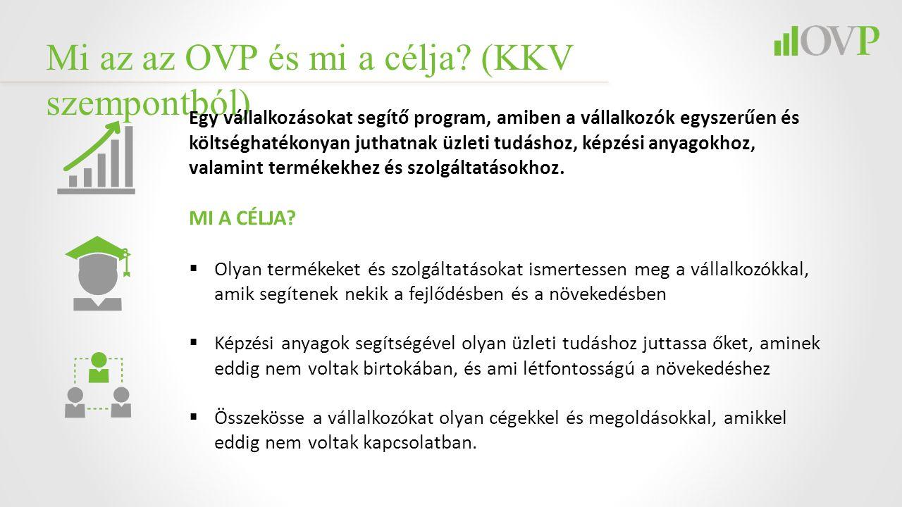 Mi az az OVP és mi a célja? (KKV szempontból) Egy vállalkozásokat segítő program, amiben a vállalkozók egyszerűen és költséghatékonyan juthatnak üzlet