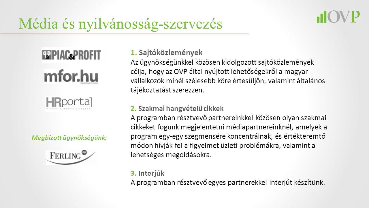 Média és nyilvánosság-szervezés 1. Sajtóközlemények Az ügynökségünkkel közösen kidolgozott sajtóközlemények célja, hogy az OVP által nyújtott lehetősé