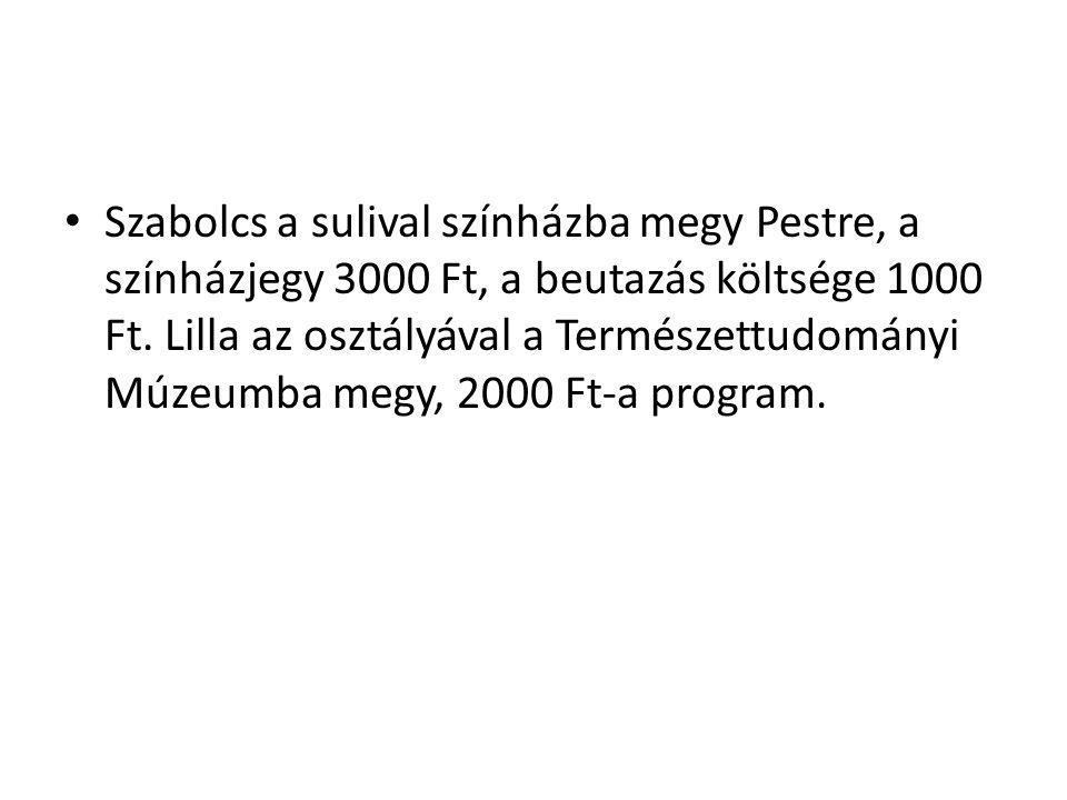Szabolcs a sulival színházba megy Pestre, a színházjegy 3000 Ft, a beutazás költsége 1000 Ft. Lilla az osztályával a Természettudományi Múzeumba megy,