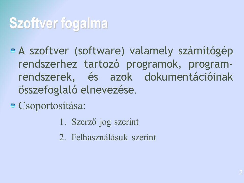 Szoftver fogalma A szoftver (software) valamely számítógép rendszerhez tartozó programok, program- rendszerek, és azok dokumentációinak összefoglaló elnevezése.