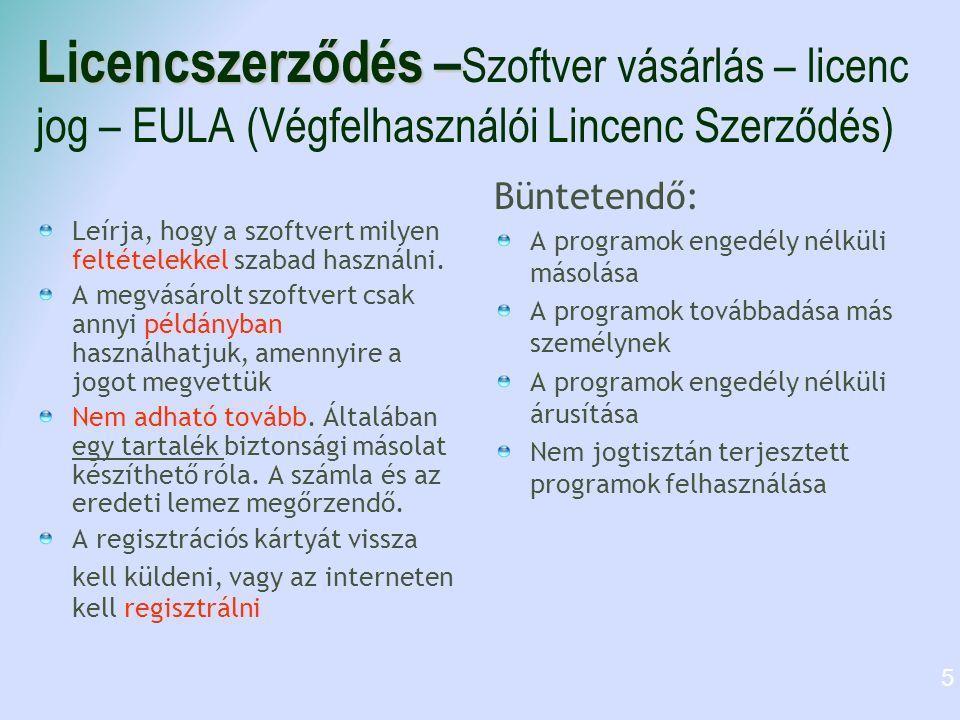 Licencszerződés – Licencszerződés – Szoftver vásárlás – licenc jog – EULA (Végfelhasználói Lincenc Szerződés) Leírja, hogy a szoftvert milyen feltételekkel szabad használni.