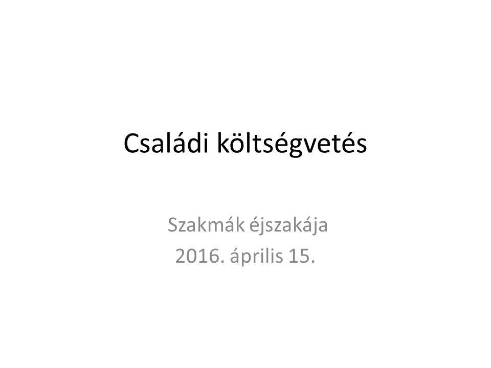 Családi költségvetés Szakmák éjszakája 2016. április 15.