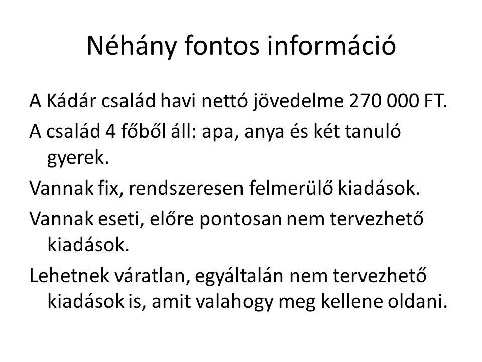 Néhány fontos információ A Kádár család havi nettó jövedelme 270 000 FT. A család 4 főből áll: apa, anya és két tanuló gyerek. Vannak fix, rendszerese