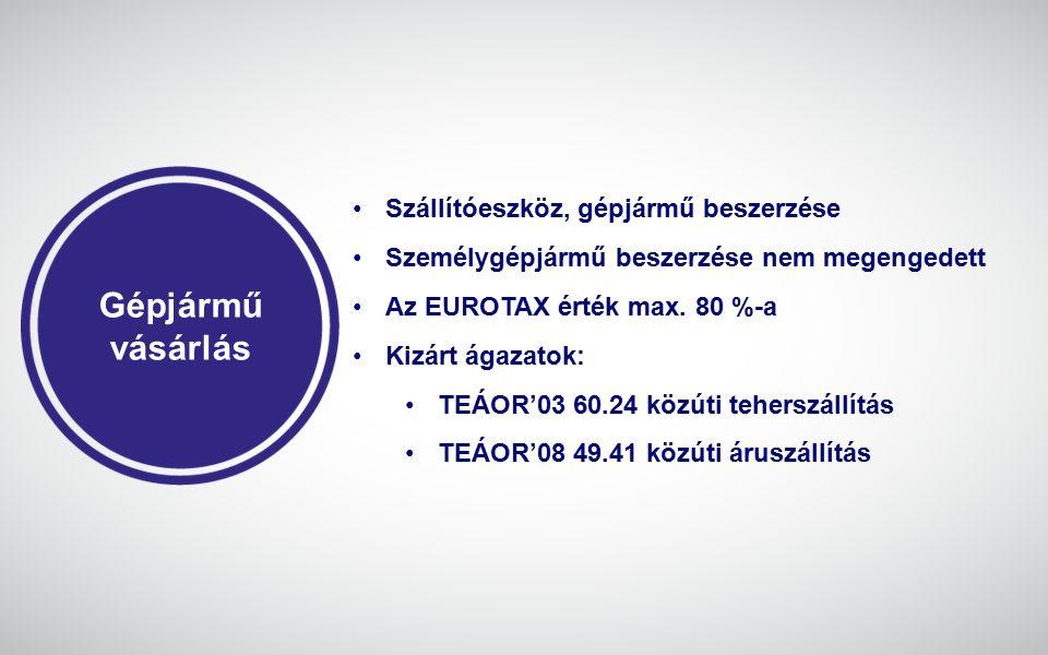 Gépjármű vásárlás Szállítóeszköz, gépjármű beszerzése Személygépjármű beszerzése nem megengedett Az EUROTAX érték max. 80 %-a Kizárt ágazatok: TEÁOR'0
