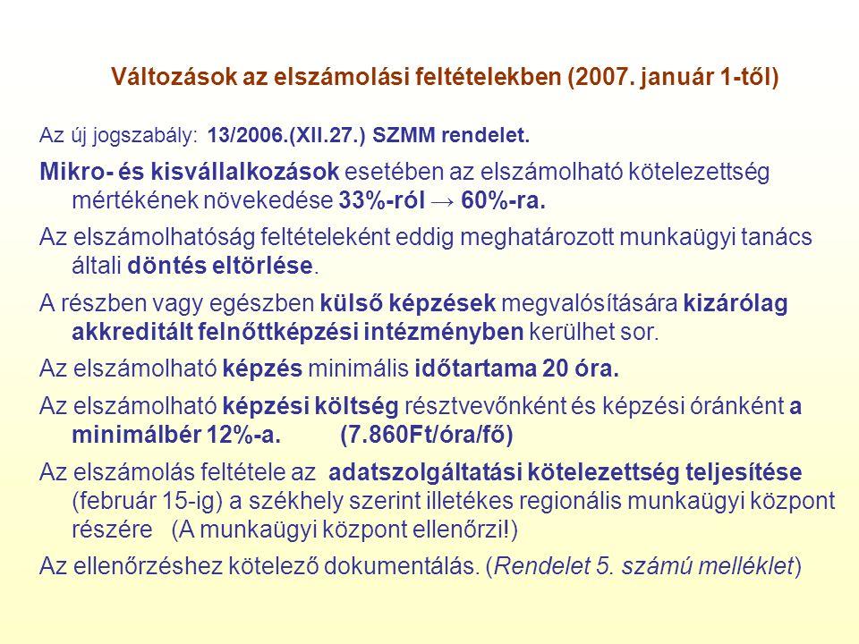 Változások az elszámolási feltételekben (2007.
