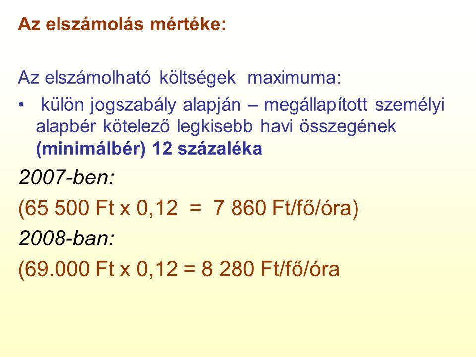 Az elszámolás mértéke: Az elszámolható költségek maximuma: külön jogszabály alapján – megállapított személyi alapbér kötelező legkisebb havi összegének (minimálbér) 12 százaléka 2007-ben: (65 500 Ft x 0,12 = 7 860 Ft/fő/óra) 2008-ban: (69.000 Ft x 0,12 = 8 280 Ft/fő/óra