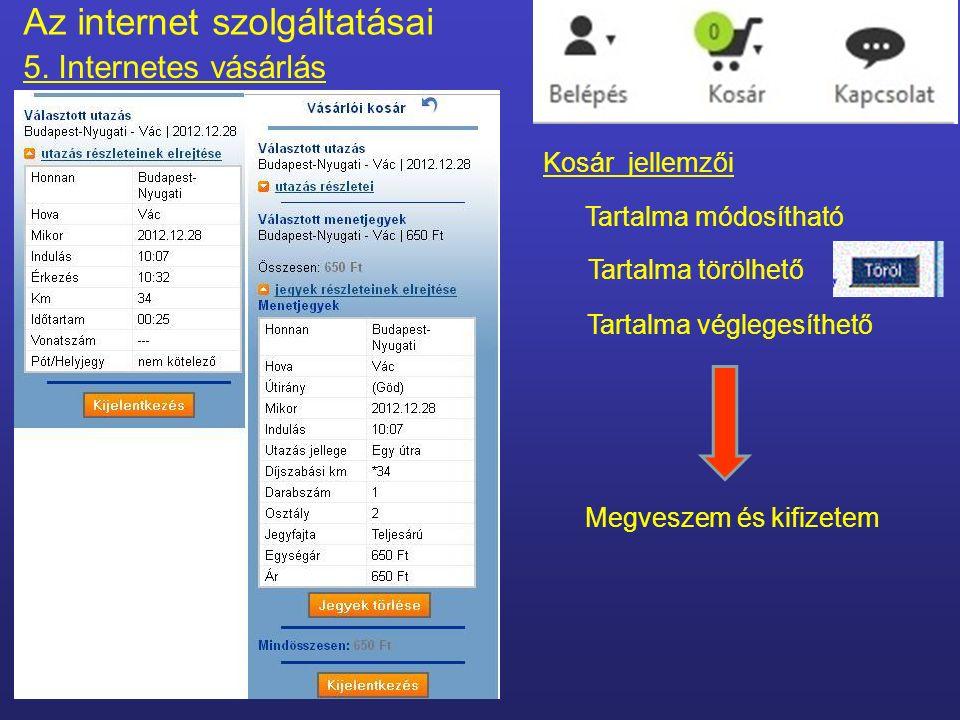 Kosár = a megvásárolandó termékek listája Az internet szolgáltatásai 5.