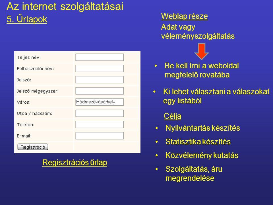 Az internet szolgáltatásai 5.