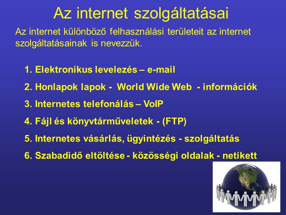 AZ INTERNET SZOLGÁLTATÁSAI Készítette: Horváth Tünde