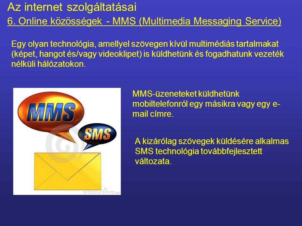 Valós idejű Azonnali üzenetküldés – Instant Messaging (kommunikációs forma) Szöveges Az internet szolgáltatásai 6.