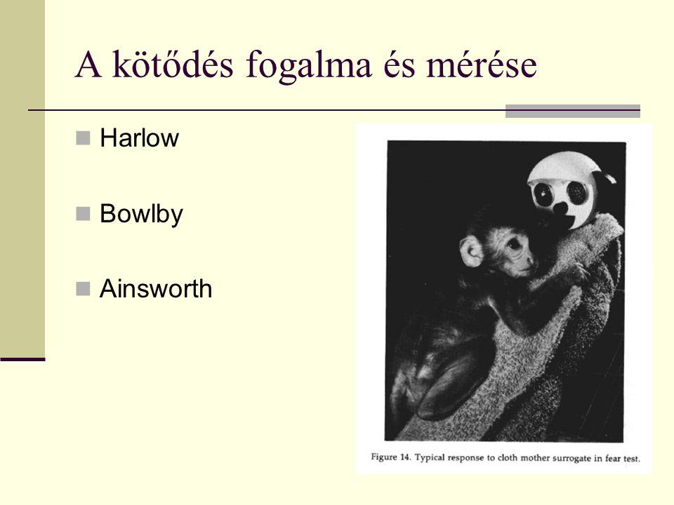 A kötődés fogalma és mérése Harlow Bowlby Ainsworth