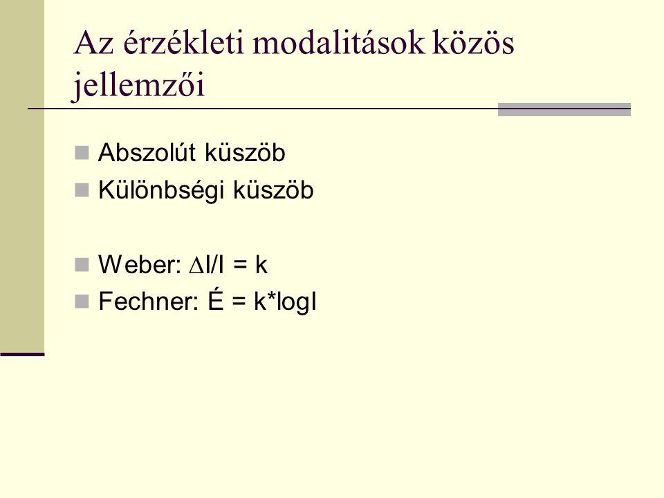 Az érzékleti modalitások közös jellemzői Abszolút küszöb Különbségi küszöb Weber: ∆I/I = k Fechner: É = k*logI