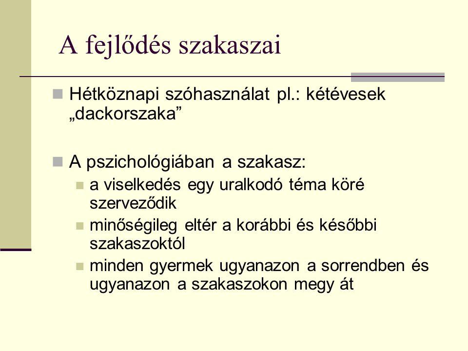 Kritikus periódus Pl.: a látás Szenzitív periódus Pl.