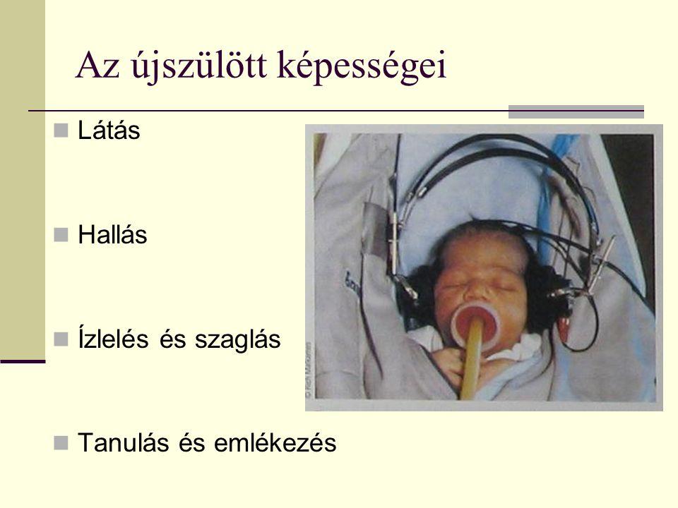 Az újszülött képességei Látás Hallás Ízlelés és szaglás Tanulás és emlékezés