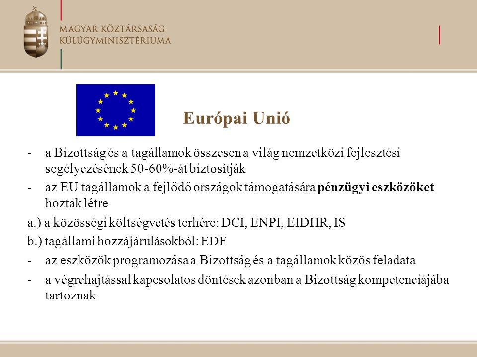 Európai Unió -a Bizottság és a tagállamok összesen a világ nemzetközi fejlesztési segélyezésének 50-60%-át biztosítják -az EU tagállamok a fejlődő országok támogatására pénzügyi eszközöket hoztak létre a.) a közösségi költségvetés terhére: DCI, ENPI, EIDHR, IS b.) tagállami hozzájárulásokból: EDF -az eszközök programozása a Bizottság és a tagállamok közös feladata -a végrehajtással kapcsolatos döntések azonban a Bizottság kompetenciájába tartoznak