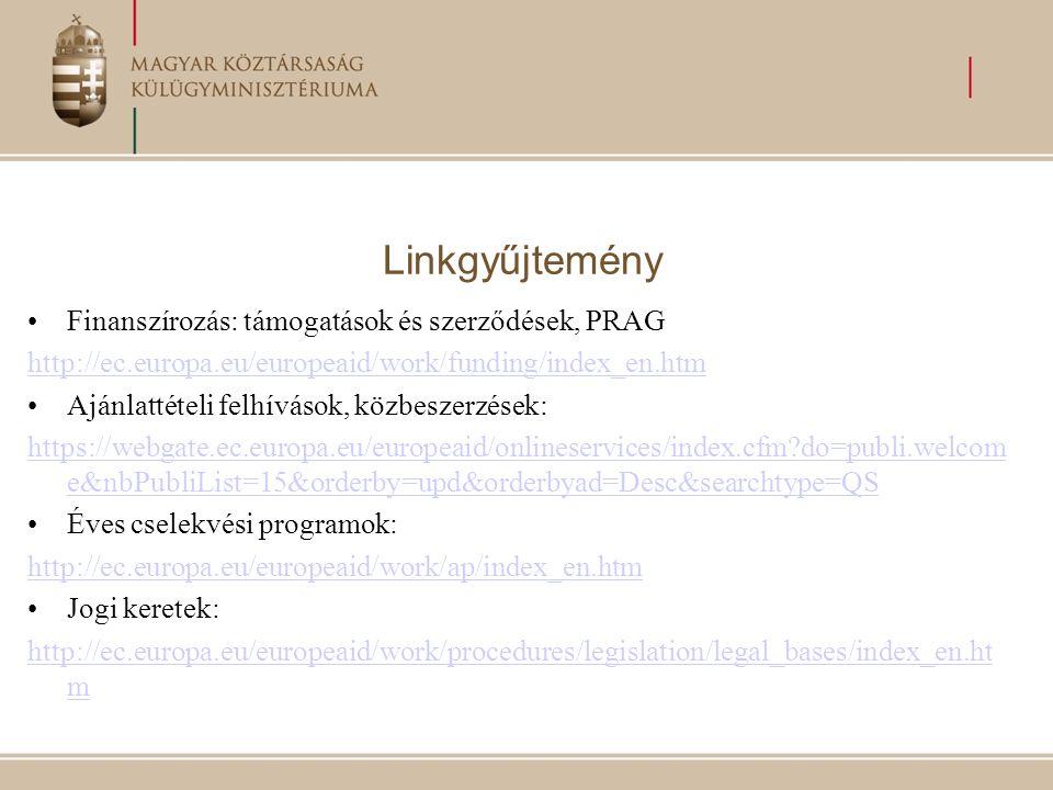 Linkgyűjtemény Finanszírozás: támogatások és szerződések, PRAG http://ec.europa.eu/europeaid/work/funding/index_en.htm Ajánlattételi felhívások, közbeszerzések: https://webgate.ec.europa.eu/europeaid/onlineservices/index.cfm do=publi.welcom e&nbPubliList=15&orderby=upd&orderbyad=Desc&searchtype=QS Éves cselekvési programok: http://ec.europa.eu/europeaid/work/ap/index_en.htm Jogi keretek: http://ec.europa.eu/europeaid/work/procedures/legislation/legal_bases/index_en.ht m