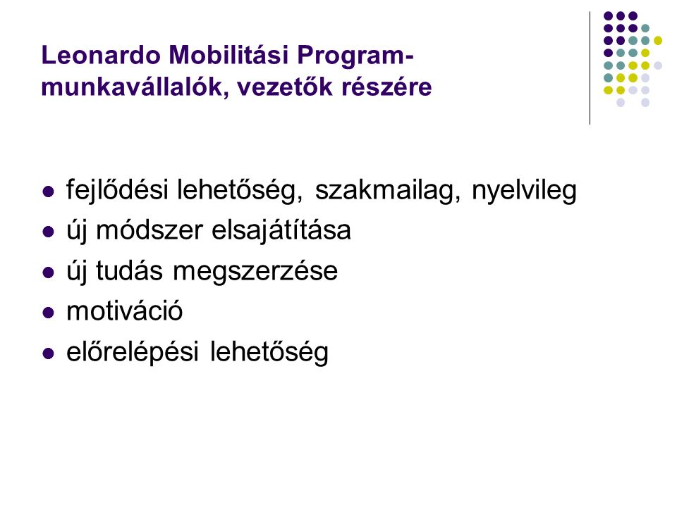 Leonardo Mobilitási Program- munkavállalók, vezetők részére fejlődési lehetőség, szakmailag, nyelvileg új módszer elsajátítása új tudás megszerzése motiváció előrelépési lehetőség