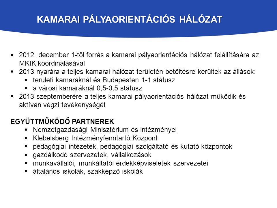  2012. december 1-től forrás a kamarai pályaorientációs hálózat felállítására az MKIK koordinálásával  2013 nyarára a teljes kamarai hálózat terület