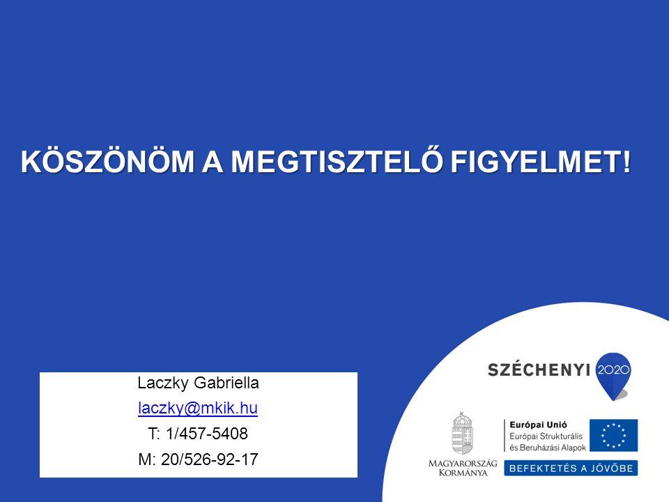 KÖSZÖNÖM A MEGTISZTELŐ FIGYELMET! Laczky Gabriella laczky@mkik.hu T: 1/457-5408 M: 20/526-92-17